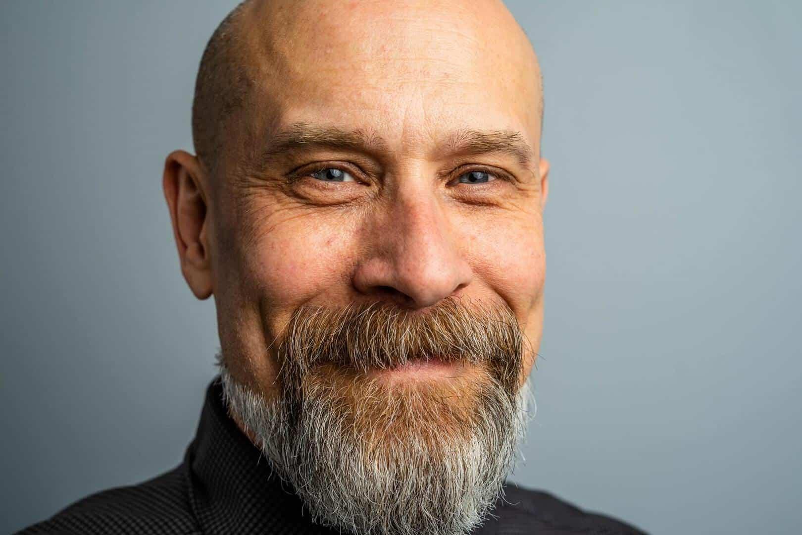 Man with beard and bald head