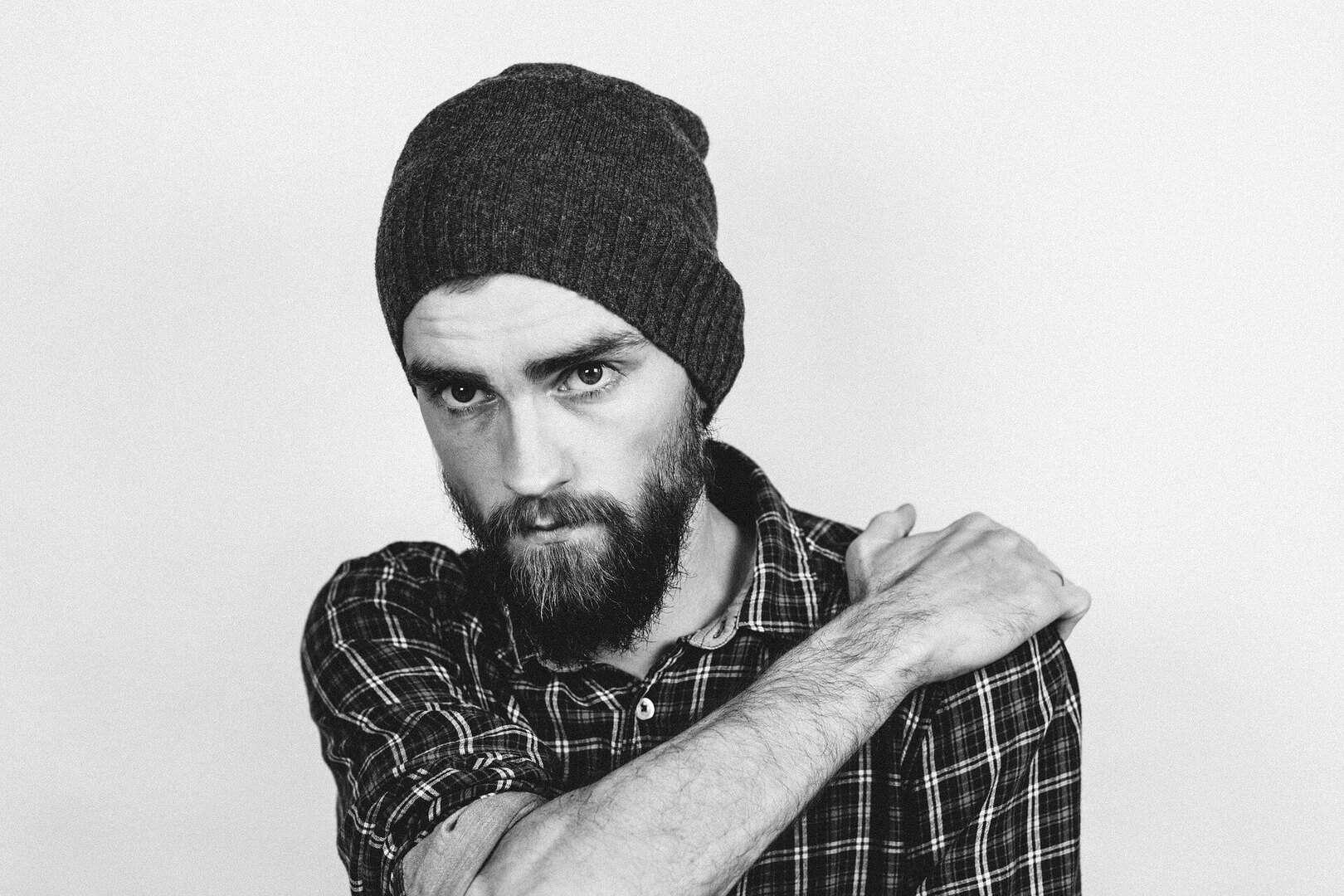 Sad man with beard